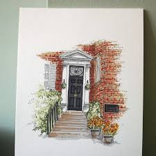 front door drawing. Personalised Front Door Illustration Drawing D