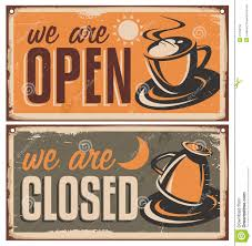 retro door signs for coffee or cafe bar