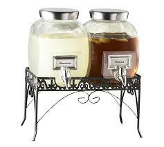 glass beverage dispenser set with stand alternate images