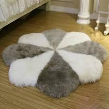 natural sheepskin rug black