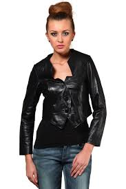 shirt collar black leather jacket for women jkf1358