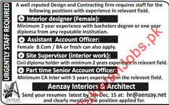 and hard working personnel for the posts of interior designer assistant account officer site supervisor senior account officer in lahore interior design assistant jobs
