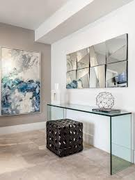 winsome rectangle transpa glass lucite console table along with wall paint color large abstract painting creamy granite tile rattan square pouffe clear