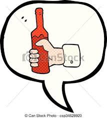 ic book sch bubble cartoon hand holding bottle of wine csp34628920