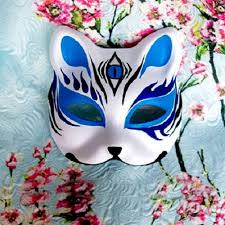 japanese for mask half face hand painted japanese style fox mask kitsune blue 3 eyes