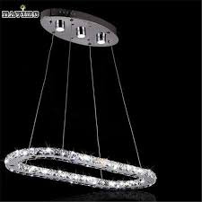 new art deco annular led k9 re crystal chandelier light fixture creative oval ring shape dining
