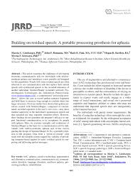 PDF) Building on residual speech: A portable processing prosthesis for  aphasia