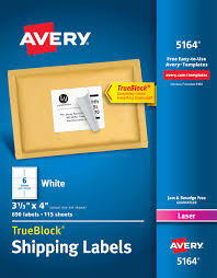 Avery 5164 Labels Avery Shipping Address Labels Laser Printers 690 Labels 3 1 3x4 Labels Permanent Adhesive Trueblock 5164