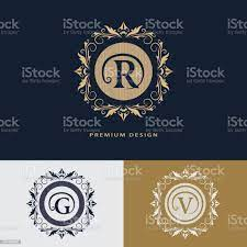 Elemen Desain Monogram Bulat Template Anggun Desain Seni Garis Elegan  Kaligrafi Surat Lambang Tanda R G V Untuk Royalty Kartu Nama Boutique Hotel  Heraldic Cafe Jewelry Ilustrasi Vektor Ilustrasi Stok - Unduh