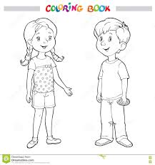 Small Picture Coloring Book Or Page Boy And Girl Stock Vector Image 77704800