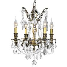 worldwide lighting windsor 4 light flemish brass chandelier with clear crystal