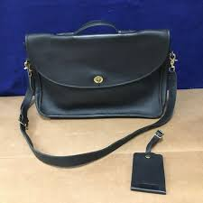 coach black cowhide leather courier bag briefcase