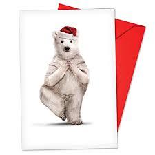 Christmas Notecard B6547jxsg Box Set Of 12 Zoo Yoga Christmas Note Card Featuring A