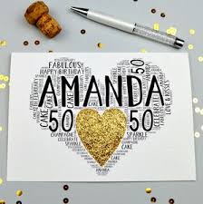 personalised 50th birthday sparkle card birthday cards