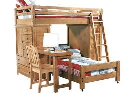 Creekside Taffy Twin Twin Student Loft Bed with Desk and Chests - Bunk/Loft  Beds Light Wood