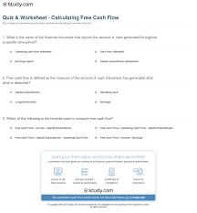 free cash flows example quiz worksheet calculating free cash flow study com