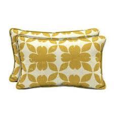 sunbrella floret honey lumbar outdoor throw pillow 2 pack