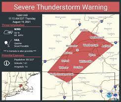 Severe thunderstorm warning, tornado ...