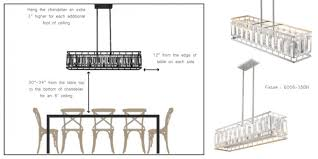 breathtaking distance from table to chandelier for your home decor