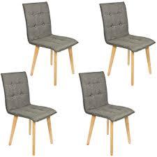 4 Set Stühle Esszimmer Holz Retro Design Grau Kingpower