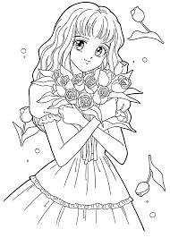 Small Picture Manga coloring pages with flowers ColoringStar