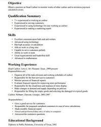 Teller Job Description For Resume Sample Resume For Cashier In