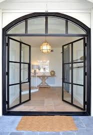 steel and glass double front doors