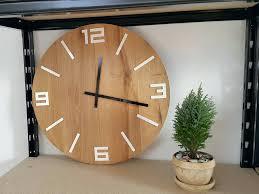 large wooden clock large wall clock rustic oak wall clock natural wood white numbers gloss wood
