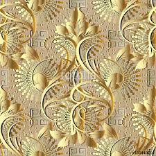 Gold Damask Background Gold Damask Seamless Pattern Floral Vector Background