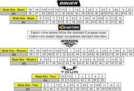 Hockey Skate Conversion Chart