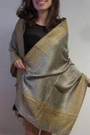 Designer Shawls And Wraps Gold And Silver Boarder Pashmina Wrap Designer Shawls