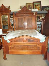 Antique Bedroom Set Full Size Bed, Mirrored Marble Top Dresser, and ...