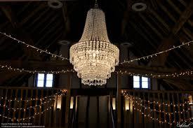 crystal chandeliers at the tudor barn