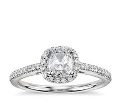 cushion cut halo diamond engagement ring in 14k white gold 1 4 ct