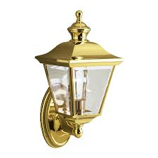 kichler bay s 20 in h polished brass outdoor wall light