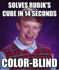 Solves Rubik's cube in 14 seconds color-blind - Bad Luck Brian ... via Relatably.com