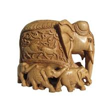 wooden carved family elephant seven craft by artist ecraft india wood
