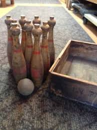 Antique Wooden Bowling Game Vintage Wooden Bowling Pin Trainers100Me 93