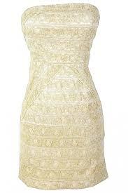 Gilded Gold Metallic Lace Strapless Designer Dress By Minuet