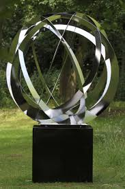 synergy iv contemporary stainless steel large garden sculpture ss