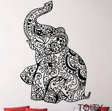 Elephant Pattern Fascinating Elephant Indian Pattern Yoga Cute Vinyl Wall Decal Sticker Art