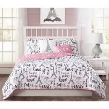 bonjour 5 piece pink black white reversible queen quilt set