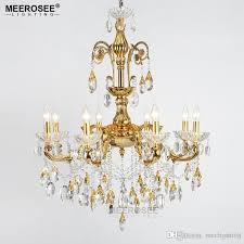 modern crystal chandelier large elegant golden color luminaria chandeliers light fixture hotel restaurant foyer 6 arms 8 arms chandelier parts brass