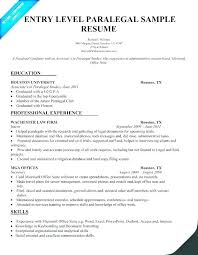 Sample Paralegal Resume With No Experience