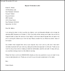 Child Care Letter Template Sample Letter For Termination Of Child Care Services Daycare Notice