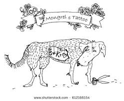 Small Picture Vector Conceptual Illustration Tattooed Dog Husky Stock Vector
