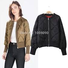 Fashion 2016 ZR Womens New Winter Olive Green Baseball Collar ... & Fashion 2016 ZR Womens New Winter Olive Green Baseball Collar Cotton  Quilting Jacket Short Padded Bomber Quilted Jacket Coats-in Basic Jackets  from Women's ... Adamdwight.com