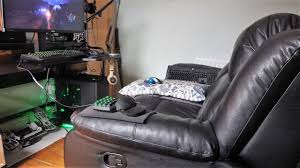 pc gaming editing from a recliner sofa it works