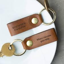 personalised leather keyring set