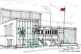 modern architecture sketch. City Hall - Port Of Spain, Trinidad, Vernelle Noel, Thinking Insomniac Modern Architecture Sketch